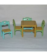 Fisher Price Loving Family Dollhouse Table Four Chairs Flip Top 1993 - $14.99