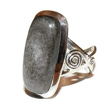 SunnyCrystals Obsidian Ring Silver Sheen High Vibration Spiritual Energy... - $79.43