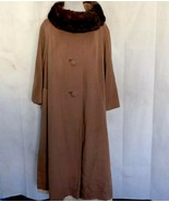 Lilli Ann San Francisco Vintage Wool Coat Mink Collar Camel Color Fully ... - $163.35