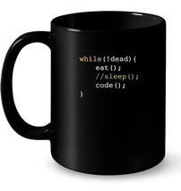 Funny Computer Science Programmer Eat Sleep Code Ceramic Mug - $13.99+