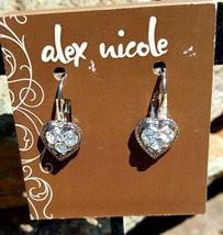 Alex Nicole 1928 Jewelry Silver Tone Heart Crystal Drop Earrings   Made ... - $10.84