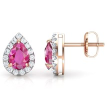 14K Rose Gold Over 1.62Ct Pear & Round Cut Ruby & Diamond Fashion Stud E... - $88.99