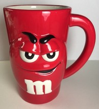 Galerie M&Ms Mars Collectors Ceramic Coffee Mug Cup M&M 3D Raised Red Tall - $9.79