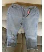 Chic Womens Blue Jeans Pants Size 22 Straight Leg Fringed 20467 - $21.24