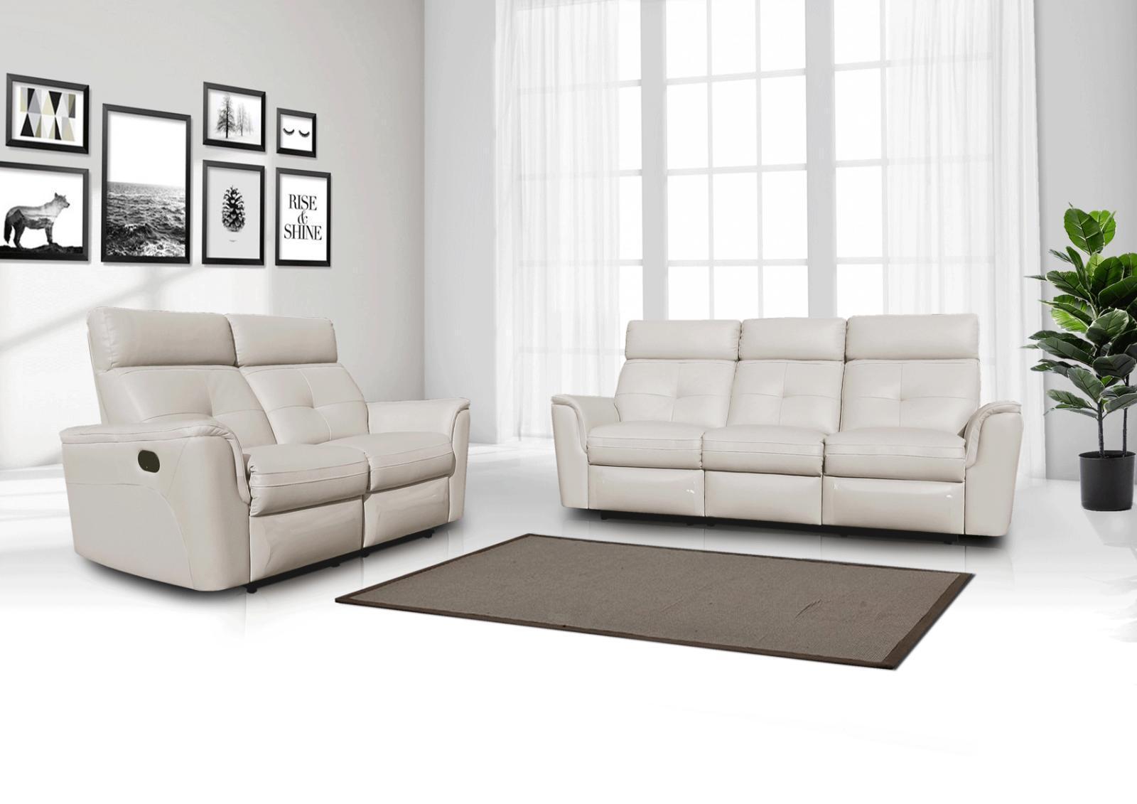 Esf 8501 Contemporary White Italian Leather Recliner Sofa Set 2 Pcs