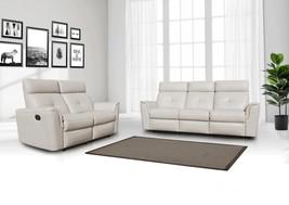 ESF 8501 Contemporary White Italian Leather Recliner Sofa Set 2 Pcs Modern