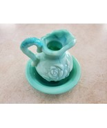Beautiful Vintage Avon Pitcher, Bowl, Blue Teal, Rose Embossed - $17.00