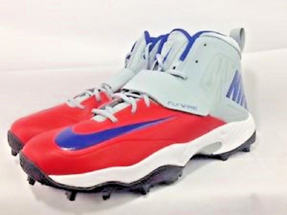 80bd25f8284 57. 57. Previous. Nike Flywire Football Lineman Cleats Gray Red Blue Men s  Size 16 NEW. Nike Flywire ...