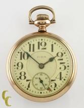 "Elgin Gold Filled ""Father Time"" Open Face Pocket Watch Gr 454 21 J 16S 1920 - $363.70"