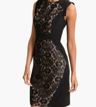Adrianna Papell Womens Dress 14 Black Lace Sheath Cap Sleeves B70-14 - $28.98