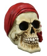 """Ebros Ghost Ship Pirate Skull with Red Bandana and Earring Statue 6"""" Long - £13.80 GBP"""