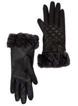 UGG Gloves Tech Smart Croft Shearling Quilted Black Leather Medium NEW $130 - $84.15