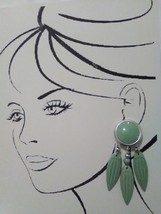 VINTAGE CLIP DANGLE EARRINGS CARVED GREEN LEAVES SILVERTONE GREEN BUTTON - $20.00