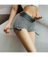 Élastique Taille Haute Femme Sexy Fitness Gym Short Ajouré Cordons Sur Côté - $22.29