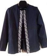 """FANCY WOMEN'S BLUE CARDIGAN WHITE EMBROIDERED DESIGNS 23""""L X 20"""" ACROSS ... - $4.99"""
