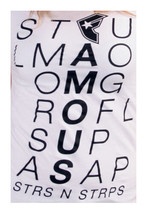 Famous Stars & Straps Womens White Scroll STFU OMG LMAO ROFL SUP Juniors T-Shirt image 2