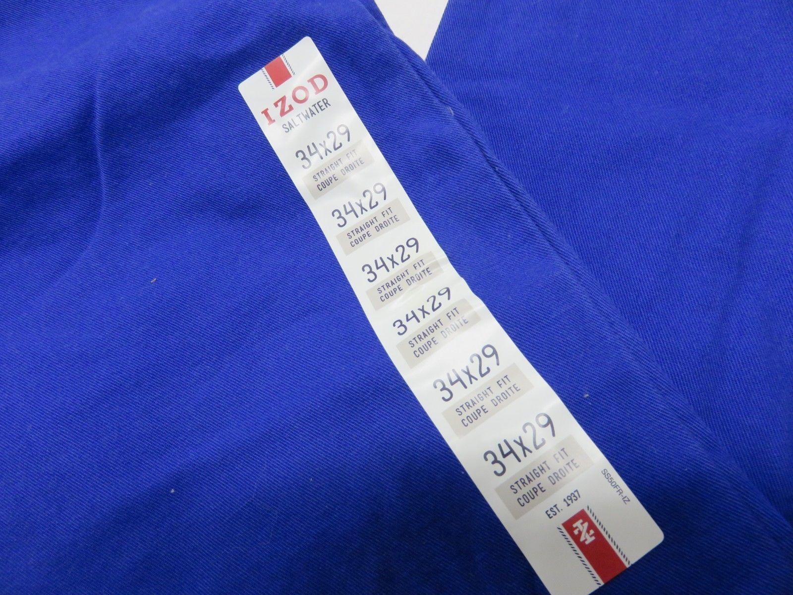 NOS w/ TAGS IZOD Saltwater Mazarine Blue Men's Straight Fit Pants Size W34 L29 image 2