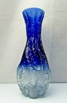 Vintage French Pop Art Deco Brutalist Blue Art Glass vase - $80.00