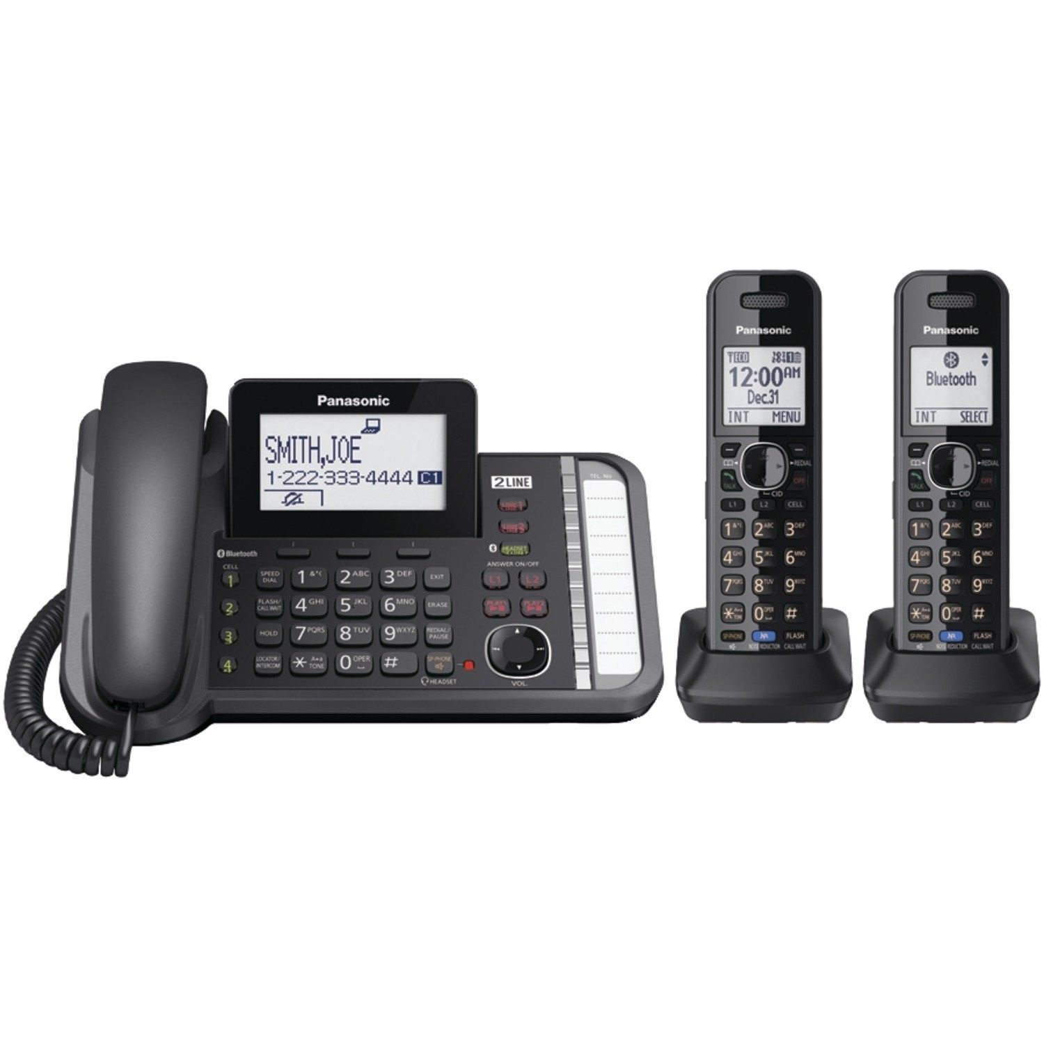 Panasonic KXTG9582B 2 -Line Corded/Cordless Expandable Link2Cell Telephone Sy...