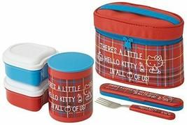Skater heat insulation lunch box 560ml Hello Kitty RED tartan Sanrio KCLJC6 - $86.92