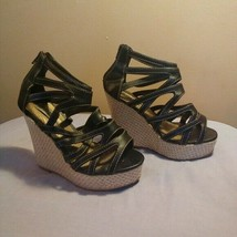 Soda Womens Size 7 Black Faux Leather Tan Espadrille Wedge Cage Sandals - $27.72