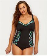 Elomi Black Tribal Instinct Wirefree One Piece Swim Suit, Size US 12 - $54.95