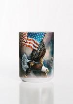 Flag Bearing Bald Eagle Patriotic Ceramic Coffee Mug Cup 15 oz White - $19.79