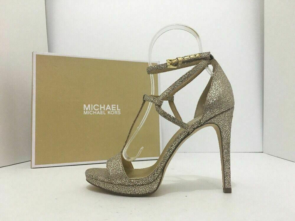Michael Kors Simone Women's Evening High Heels Sandals Silver Sand Glitter 7 M image 3