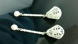 Vintage MOD Antique White Enamel Bird Cage Pierced Earrings - $34.64