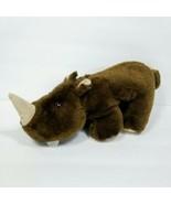 "Rhinoceros Plush Dark Brown Stuffed Animal 15"" Long Rhino Zoo Safari Soft - $19.79"