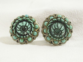 TURQUOISE Celluloid Silver Tone FLOWER Screw Ba... - $29.69