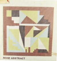 """Vintage 1970's Hand Painted Needlepoint Canvas """"602 Beige Abstract"""" 14"""" ... - $28.35"""