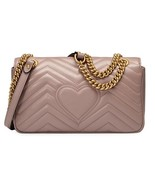 NWT GUCCI GG Marmont Matelasse Dusty Pink Small Shoulder Bag Quilted Lea... - $1,611.25