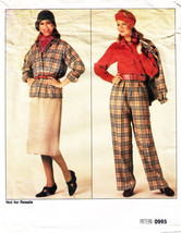 1985 Misses' Vogue Pattern 0995-v JACKET, SKIRT, PANTS & BLOUSE Sizes 14... - $9.99