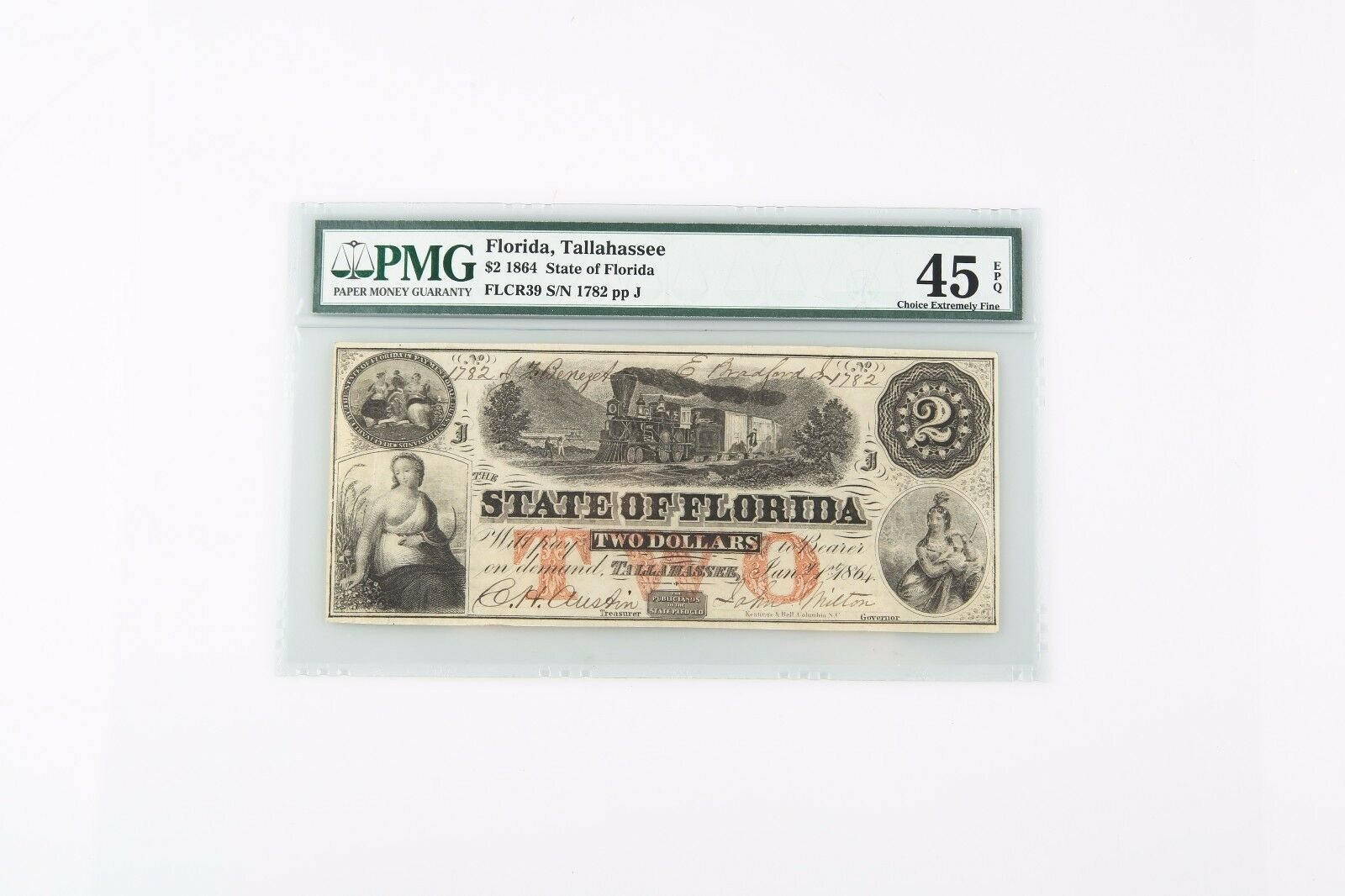 1864 Confederate Note CXF-45 EPQ PMG Choice Extra Fine Tallahassee CSA Rebel