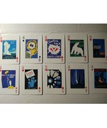 10 Single Playing Cards Art Deco Vintage Posters 1936-43 Dark Blue Hues ... - $3.95