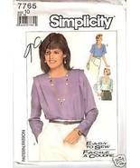 Simplicity 7765 Misses' Blouses  Size 10 - $2.00