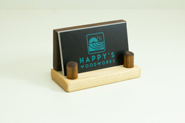 Wood Business Card Holder Walnut, Office Gift for Boss, Business Card Di... - $16.00