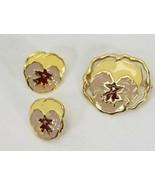Avon Pansy Pin and Pierced Earring Set Purple Yellow - $19.59