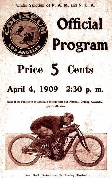 Primary image for 1909 Los Angeles Coliseum Motorcycle Races - Program Cover Poster