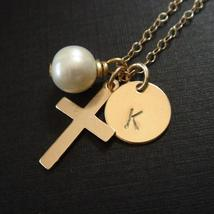 Gold Cross Monogram Necklace - Bridesmaid Pearl Gift - $35.00+