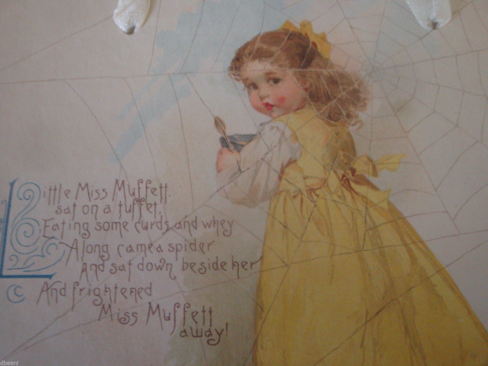 Little Miss Muffett Mother Goose Nursery Rhyme Shabby Art Wall Hanging Chic New