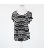 Black white geometric MAX STUDIO cap sleeve scoop neck button back blouse S - $19.99