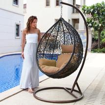 Tear Drop Outdoor Hanging Hammock Wicker Swing Chair Egg Shape New BN-BEIGE - $598.98