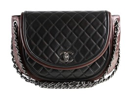 Authentic Chanel Bicolor Black / Maroon Red Two Tone Shoulder Flap Bag - $1,895.00
