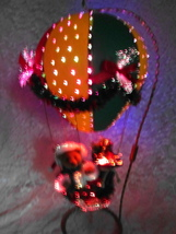 Santas On the Way Hot Air Balloon Fiber Optic Light Up Figure Christmas Decor - $80.00