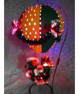Santas On the Way Hot Air Balloon Fiber Optic Light Up Figure Christmas ... - $80.00