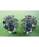 Vintage Fantastic silver tone metal blue crystal Rhinestones clips earrings - $20.59