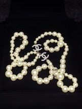 SALE! Authentic Chanel Classic 2 Enamel CC Logo Long Pearl Necklace Silver image 1