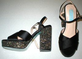 New Betsey Johnson Sandals Heels Glitter Black Satin Womens 6.5 Blue Pink Gold  - $129.00